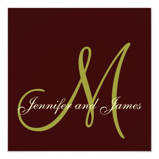 Brown, Green Monogram Wedding Invitations