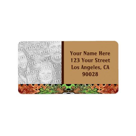 brown green photo address label