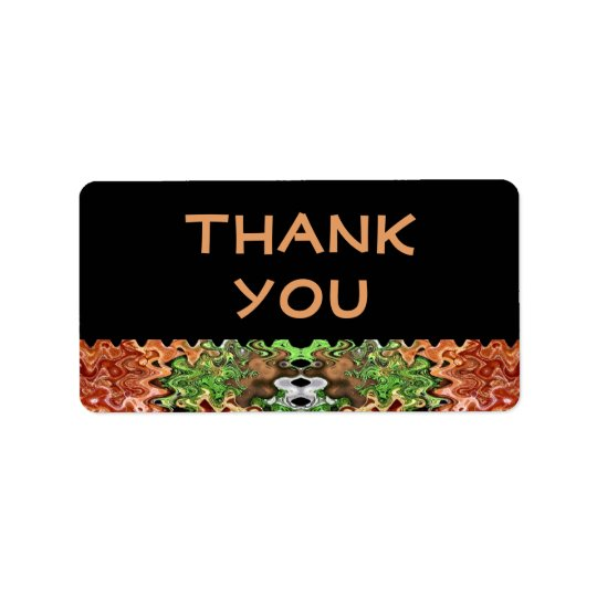 brown green Thank You Label