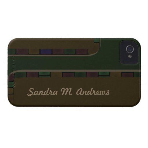 Brown Green Tile Border Blackberry Case