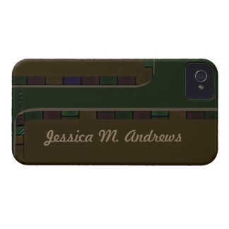 Brown Green Tile Border iPhone 4 Covers