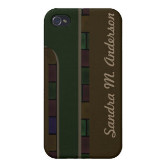 Brown Green Tile Border iPhone 4/4S Cases