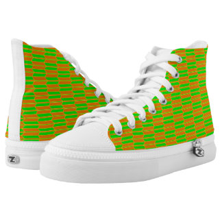 Brown Green Yellow Geometric Pattern High Tops