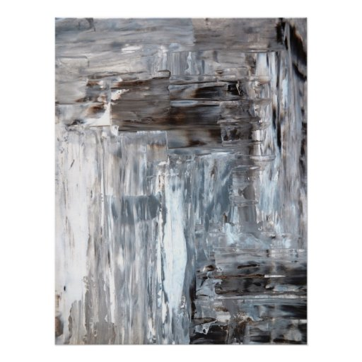 Brown, Grey and White Abstract Art Poster Print