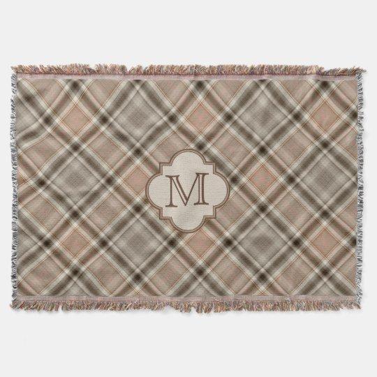 Brown Grey Tartan Plaid Pattern Monogram Throw Blanket