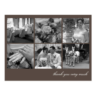 Brown grid collage 6 photos memories thank you postcard
