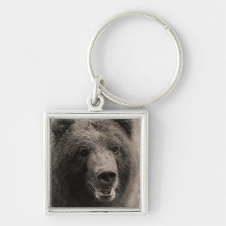 Brown Grizzly Bear Portrait Silver-Colored Square Key Ring