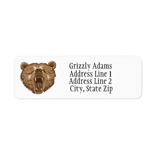 Brown Grizzly Bear Return Address Labels