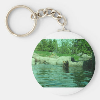 Brown Grizzly Bear swimming in a Pond by Trees Keychains