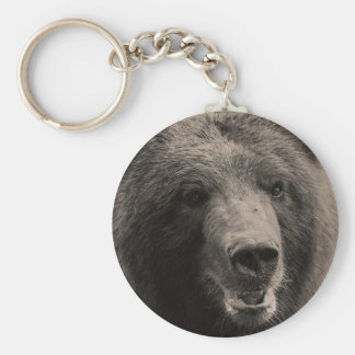 Brown Grizzly Bear Wildlife Photo Basic Round Button Key Ring