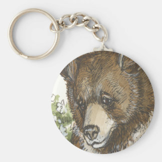 Brown Grizzly Cub Basic Round Button Key Ring