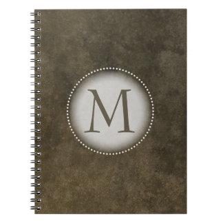 Brown Grunge Monogrammed Notebooks