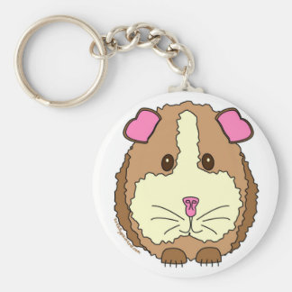 Brown Guinea Pig Basic Round Button Key Ring