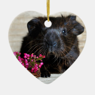 Brown Guinea pig with Purple Flowers Ceramic Heart Decoration