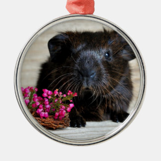 Brown Guinea pig with Purple Flowers Christmas Ornament