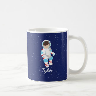 Brown Hair Astronaut in Space Basic White Mug