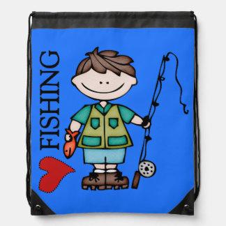 Brown Hair Boy I Love Fishing Drawstring Bag