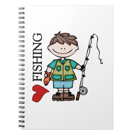 Brown Hair Boy I Love Fishing Notebook