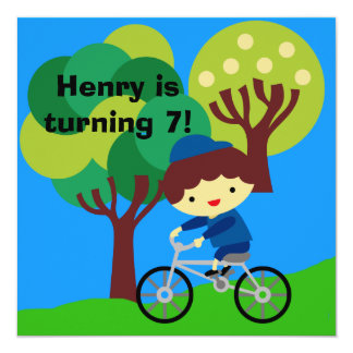 Brown Hair Boy on Bicycle Birthday Invitation