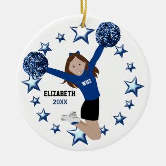 Brown Hair Cheerleader Pom Poms In Blue & Black Round Ceramic Decoration