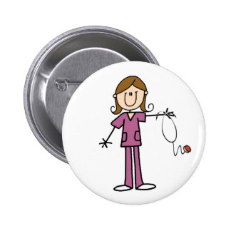 Brown Hair Female Stick Figure Nurse Pin