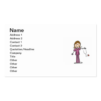 Brown Hair Female Stick Figure Nurse Business Card Template
