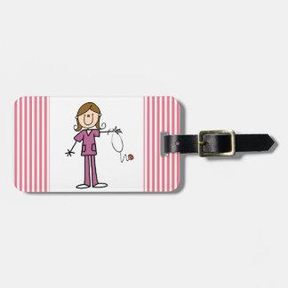 Brown Hair Female Stick Figure Nurse Luggage Tag