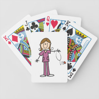 Brown Hair Female Stick Figure Nurse Poker Cards