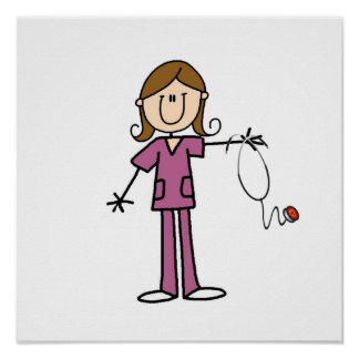 Brown Hair Female Stick Figure Nurse Poster