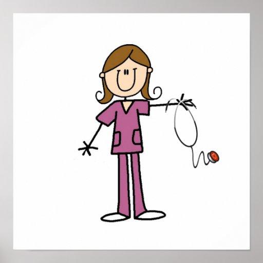 Brown Hair Female Stick Figure Nurse Posters