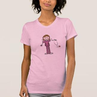 Brown Hair Female Stick Figure Nurse T-shirt