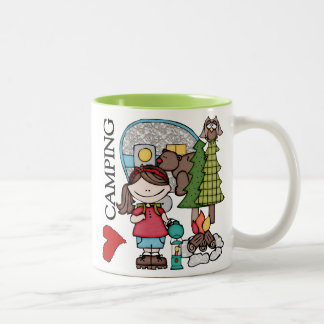 Brown Hair Girl I Love Camping Two-Tone Mug