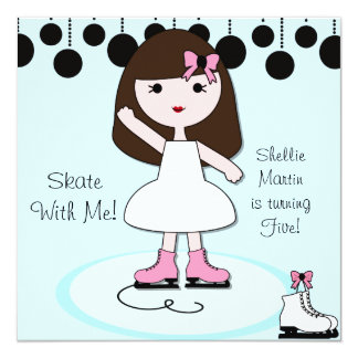 "Brown Hair Girl Ice Skating Party Invitations 5.25"" Square Invitation Card"