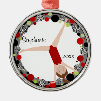 Brown Hair Gymnast in Red, Black & Green Keepsake Christmas Ornament