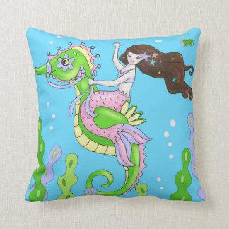Brown hair mermaid or pink octopus pillow