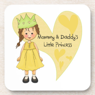 Brown Hair Mommy and Daddy's Princess Drink Coaster