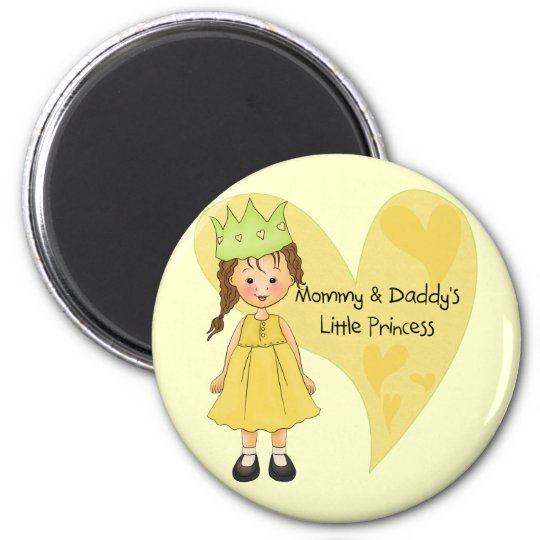 Brown Hair Mummy and Daddy's Princess Magnet