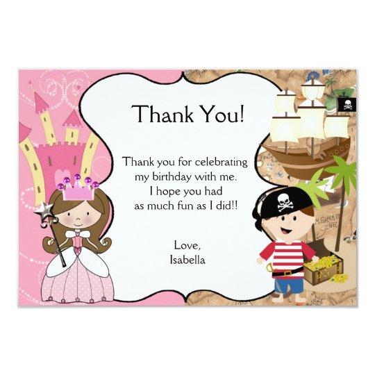 Brown Hair Princess & Pirate Party Thank You