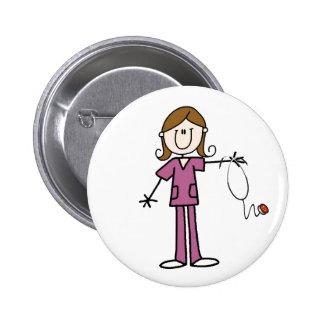 Brown Hair Stick Figure Nurse  Button