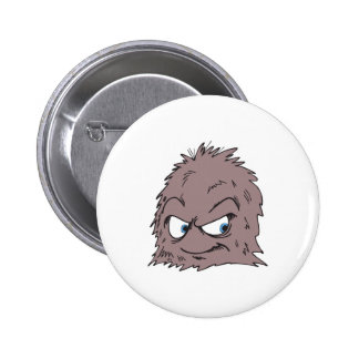 brown hairy furry monster 6 cm round badge