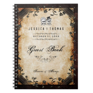 Brown Halloween Wedding Gothic Skeleton GUEST BOOK