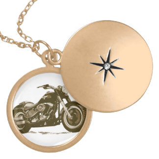 Brown Harley Motorcycle Gold Plated Necklace