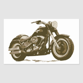 Brown Harley Motorcycle Rectangle Sticker