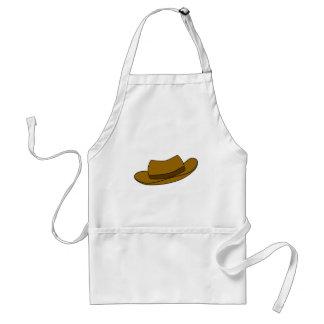 Brown hat illustration On White Apron
