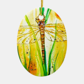 Brown Hawker Dragonfly Ceramic Oval Decoration