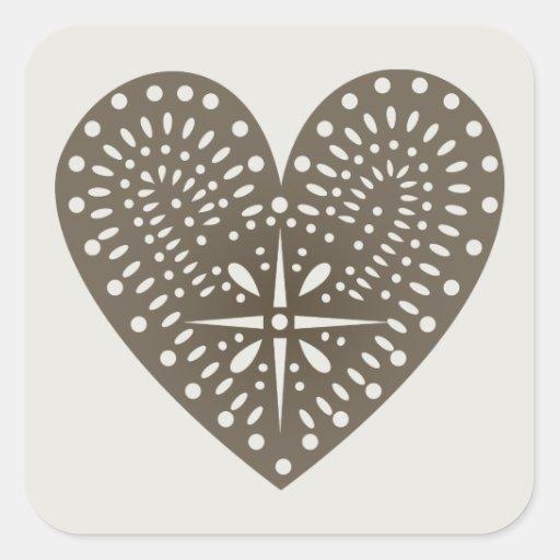 Brown Heart Cutout Sticker