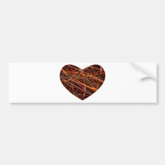 Brown Heart with Red, Black, White, & Orange Lines Bumper Sticker