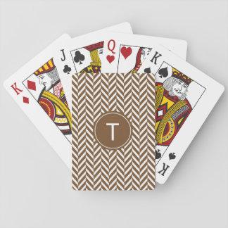 Brown Herringbone Custom Playing Cards