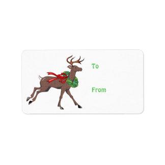 Brown Herringbone Tweed Reindeer with Wreath Address Label