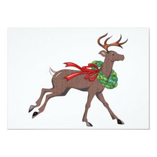 """Brown Herringbone Tweed Reindeer with Wreath 5"""" X 7"""" Invitation Card"""